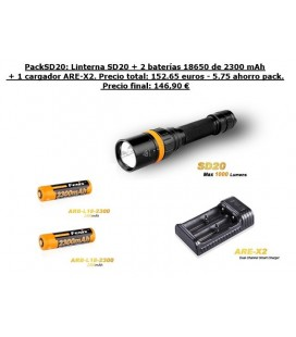 PackSD20 submarinismo (Fénix Sd20 1000 Lúmens + 2 x 18650 ARB-L18-2300 + 1 X ARE-X2)