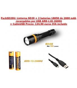 PACKSD20U: Linterna SD20 + 2 x ARB-L18-2600U + CableUSB