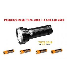 Linterna Fénix PACKTK75 2018 5100 Lúmenes + 4 baterías 18650 ARB-L18-2600