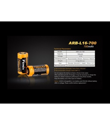 Pila 16340 Arb-L16-700 Recargable De Fenix 700 Mah