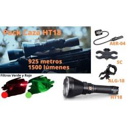 Pack para Caza incluye la Linterna HT18, pulsador remoto y soportes montaje arma
